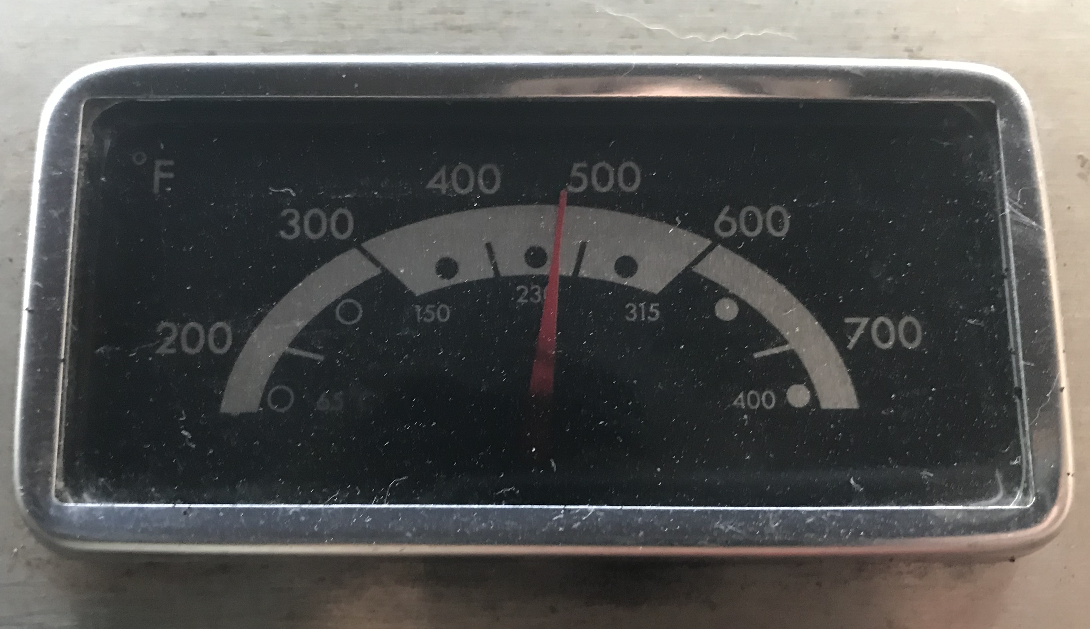 Temperature Gauge on grill close to 500